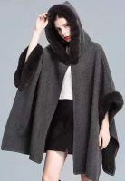 Hooded Fur Poncho Coat